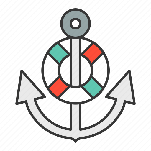 anchor, life ring, nautical, stop icon