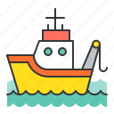 fishing boat, nautical, sea, ship icon