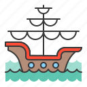 ancient boat, galleon, nautical, sea, ship icon