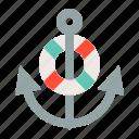 anchor, life ring, nautical, sea, stop