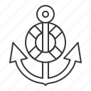 anchor, life ring, nautical, sea, stop icon