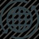 arrows, earth, globe, navigation icon