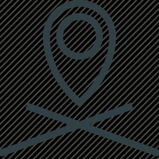 marker, navigation, pointer icon
