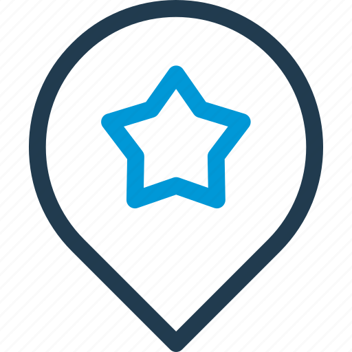 location, marker, navigation, pin, pointer, star icon
