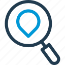 glass, loupe, magnifier, navigation, pin, pointer, search icon