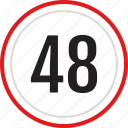 numbers, 48, number icon