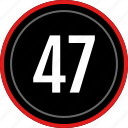 number, numbers, 47 icon