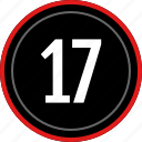 count, number, numbers, seventeen icon