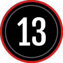 count, number, numbers, thirteen icon