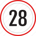 numbers, number, 28 icon