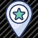 favorite, location, map, marker, pin, star, targeting