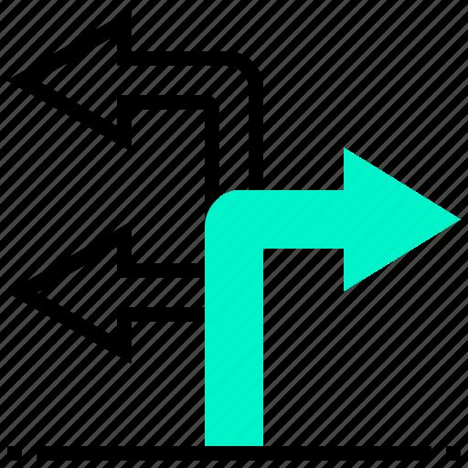 arrow, destination, location, navigation, turn icon