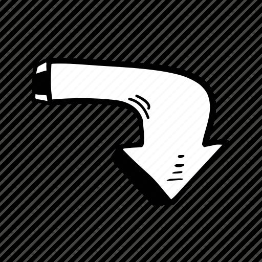arrow, arrows, direction, down, gps, navigation, pointer icon