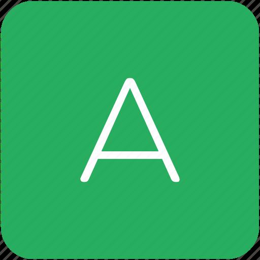 a, green, key, keyboard, letter icon