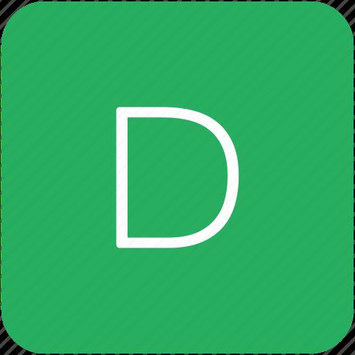 d, green, key, keyboard, letter icon