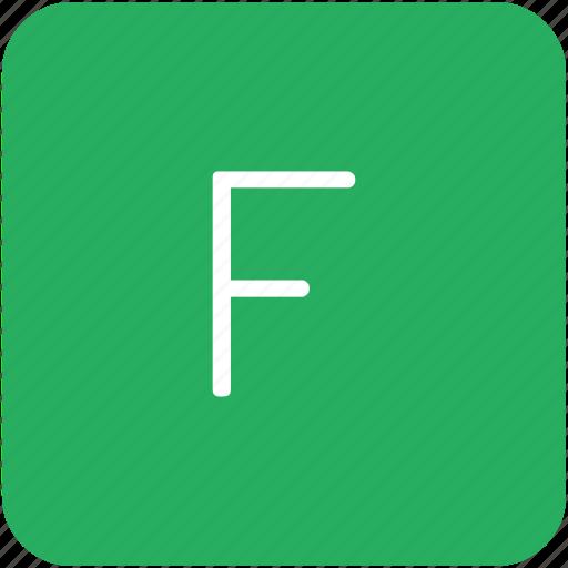 f, green, key, keyboard, letter icon