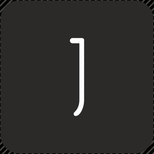 j, key, keyboard, letter, uppercase icon