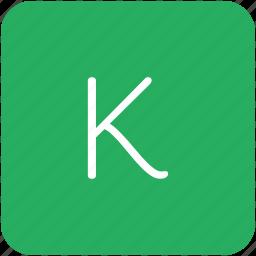 green, k, key, keyboard, letter icon