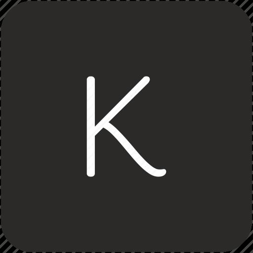 k, key, keyboard, letter, uppercase icon