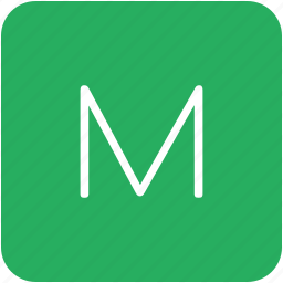 green, key, keyboard, letter, m icon