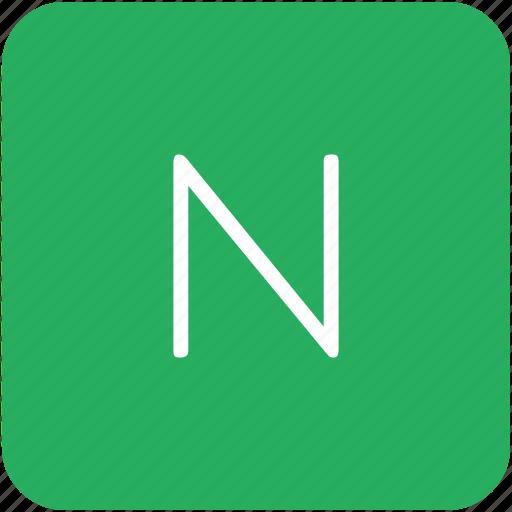 green, key, keyboard, letter, n icon