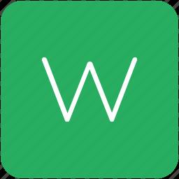 green, key, keyboard, letter, w icon