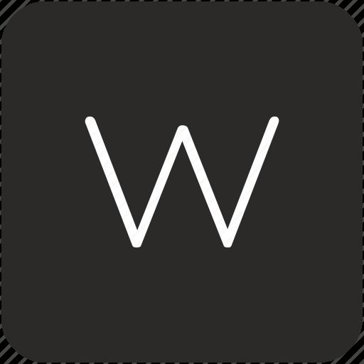 key, keyboard, letter, uppercase, w icon