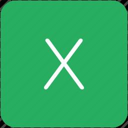 green, key, keyboard, letter, x icon