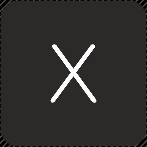 key, keyboard, letter, uppercase, x icon