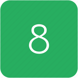 eight, green, keyboard, number icon