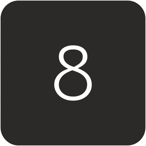 eight, keyboard, number, uppercase icon