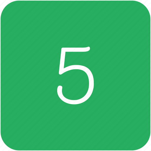 five, green, keyboard, number icon