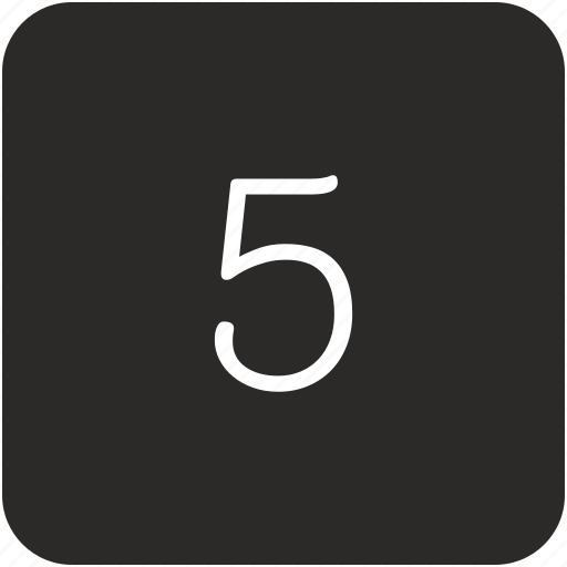five, keyboard, number, uppercase icon
