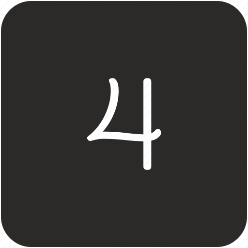 four, keyboard, number, uppercase icon