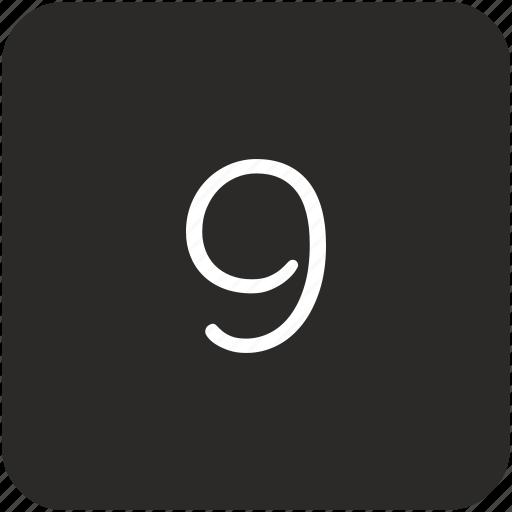 keyboard, nine, number, uppercase icon