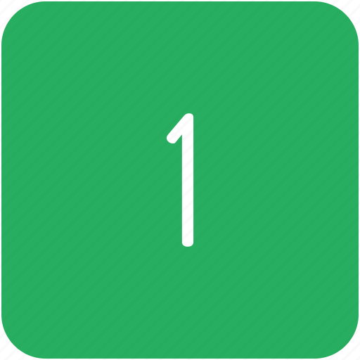 first, green, key, number, one icon