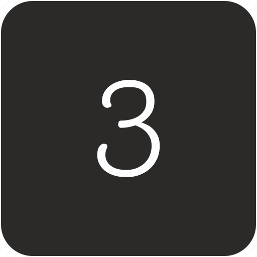 keyboard, number, three, uppercase icon