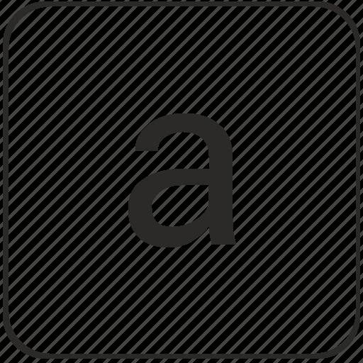 a, alphabet, keyboard, latin, lowcase, virtual icon
