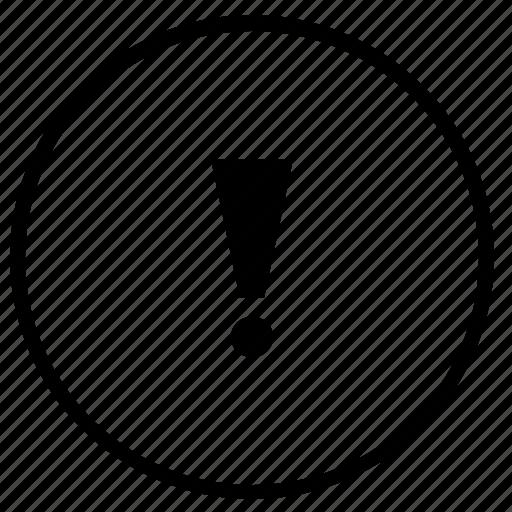 attention, error, navigation, notice, round, sign, warning icon