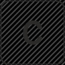 alphabet, c, keyboard, latin, lowcase, virtual icon