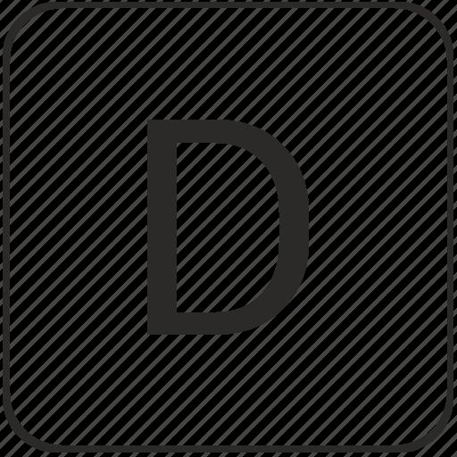 alphabet, d, latin, letter, text, uppercase icon