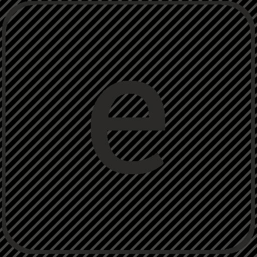 alphabet, e, keyboard, latin, lowcase, virtual icon