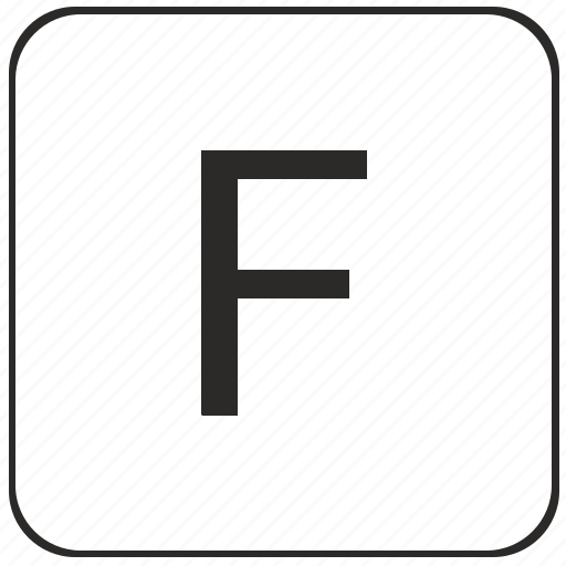 alphabet, f, keyboard, latin, uppercase, virtual icon