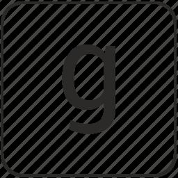 alphabet, g, keyboard, latin, letter, lowcase, virtual icon
