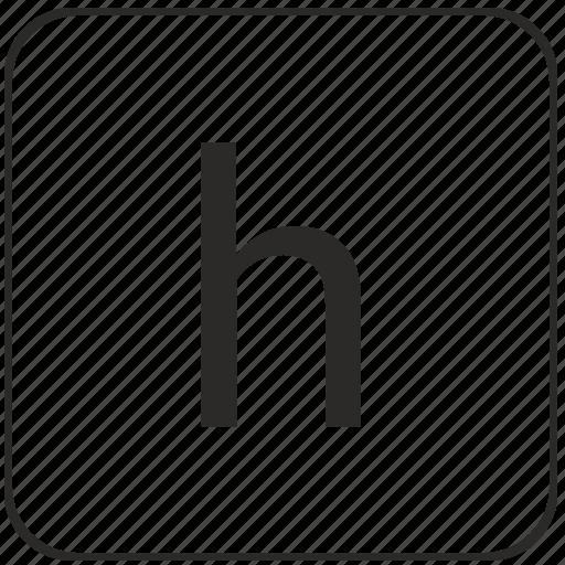 h, keyboard, latin, letter, lowcase, virtual icon