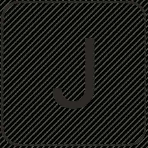 alphabet, j, keyboard, latin, letter, uppercase, virtual icon