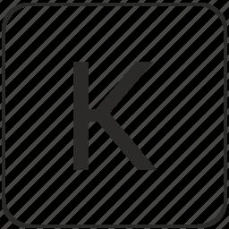 alphabet, k, keyboard, latin, letter, uppercase, virtual icon