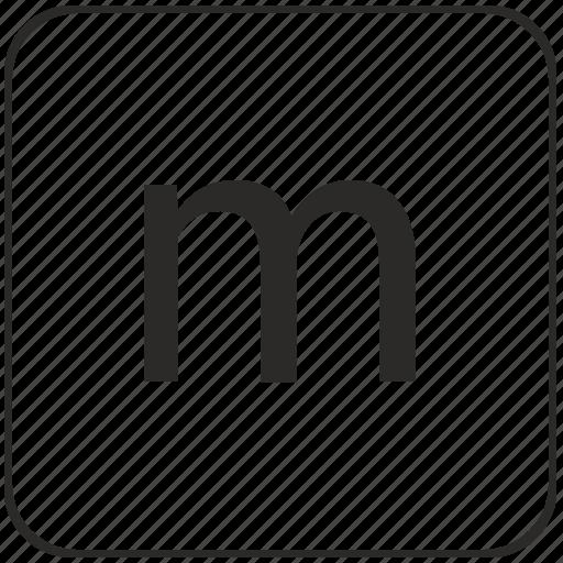 alphabet, keyboard, latin, lowcase, m, virtual icon