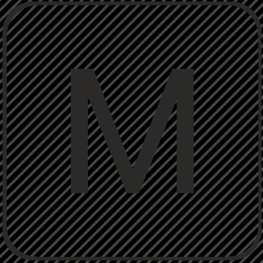 alphabet, keyboard, latin, m, uppercase, virtual icon