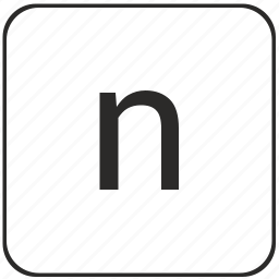alphabet, keyboard, latin, lowcase, n, virtual icon